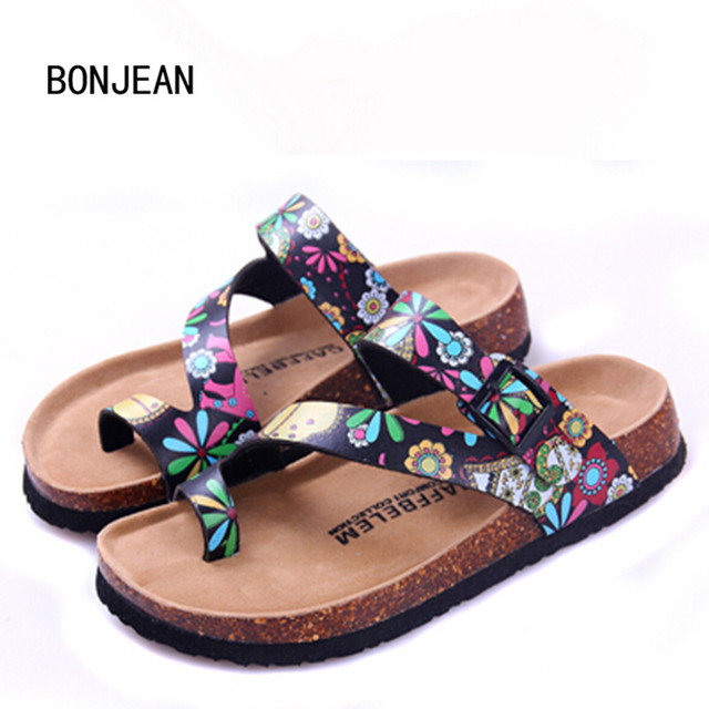 Women Sandals in Women's Sheos Summer Outdoor Casual Flats Solid Cork Slippers Mixed Color Beach Shoes Slides Plus Size