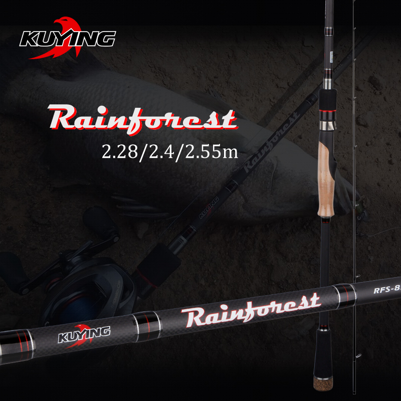 KUYING Rainforest 2,28m 2,4m 2,55m Japansk Carbon Spinning Casting Fiske Rod Lure Fiskpole Medium Snabb Åtgärd Hård Mjuk
