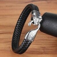 XQNI браслет из натуральной кожи и браслет с головой змеи аксессуары из нержавеющей стали для благословения мужской браслет счастливое ювели...
