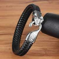 XQNI Genuine Leather Bracelet & Bangle Snake Head Accessories with Stainless Steel for Blessing Men Bracelet Lucky Jewelry