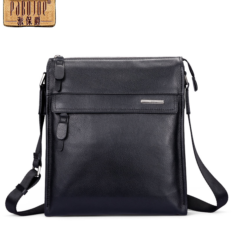 Pabojoe brand 100% Genuine Leather Casual Men Messenger Bag Sling Shoulder Bag cow leather bolsa feminina cow leather shoulder bag brand new 2018 messenger bag women genuine leather bolsa feminina free shipping two shoulder straps