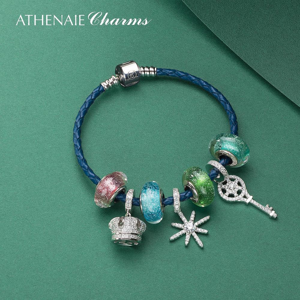 ATHENAIE ze srebra próby 925 moja królowa korona wisiorek i Sparkling Snowflake fascynujące opalizujące Charms koraliki skórzana pleciona bransoletka w Plecione bransoletki od Biżuteria i akcesoria na  Grupa 1