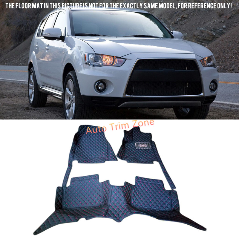 Interior Black Floor Mats & Carpets For Mitsubishi Outlander (5-Seat) 2010 2011 2012 seven seats cars dedicated floor mats rubber feet thick waterproof latex non slip easy to clean carpets for highlander