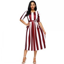 527ce7966486d Women s Summer Dresses 2018 Striped Casual Women Draped Dress Half Sleeve Plus  Size Mid-Calf