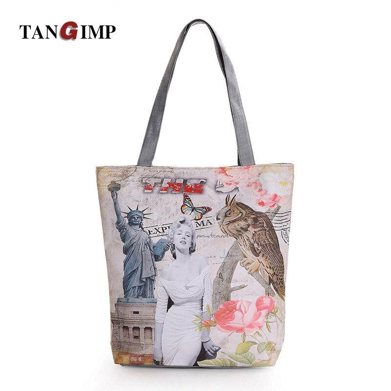 Tangimp Women Female Casual Handbags Polyester Car London Marilyn Monroe Paris Shoulder Bag Las Vintage Tote Beach Bags In Top Handle From Luggage