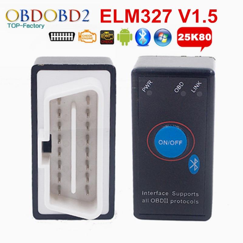 Prix pour PIC18F25K80 ELM327 V1.5 ELM 327 Bluetooth Mini OBD2 Code Reader Avec Interrupteur D'alimentation Pour Android Windows Voiture De Diagnostic Scanner