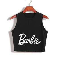 Barbie Letter Print T Shirt Women Sexy Cropped Tank Top Summer Fashion Tank Tops Ladies 80S