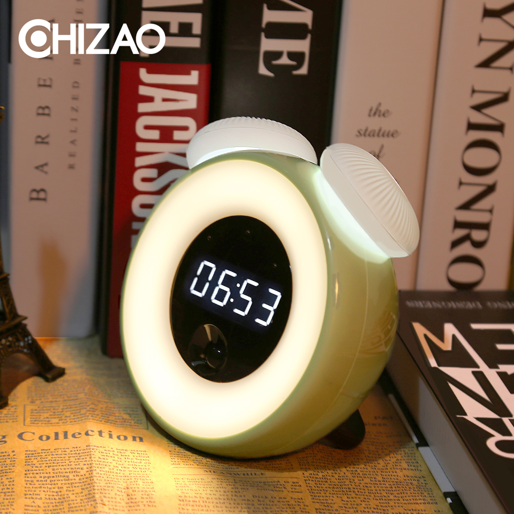 CHIZAO Multifunction Clock LED Light Creative Intelligent Sensor Light Touch Dimming Nightlight Snooze Alarm Clock USB Charging