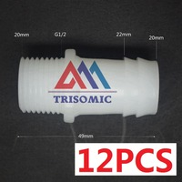 12 Pieces 20mm G1 2 Straight Connector Plastic Pipe Fitting Barbed With Thread Material PE Joiner