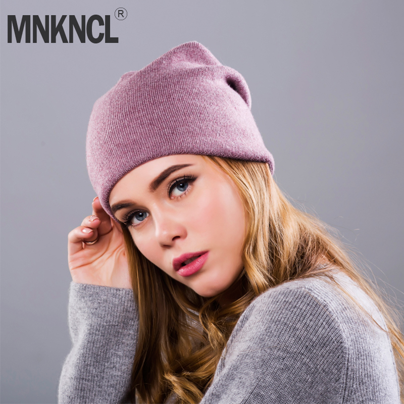 2018 New Women s Winter Hat Knitted Wool Beanie Female Fashion Skullies  Casual Outdoor Mask Ski Caps Thick Warm Hats for Women c77d7fa6f42