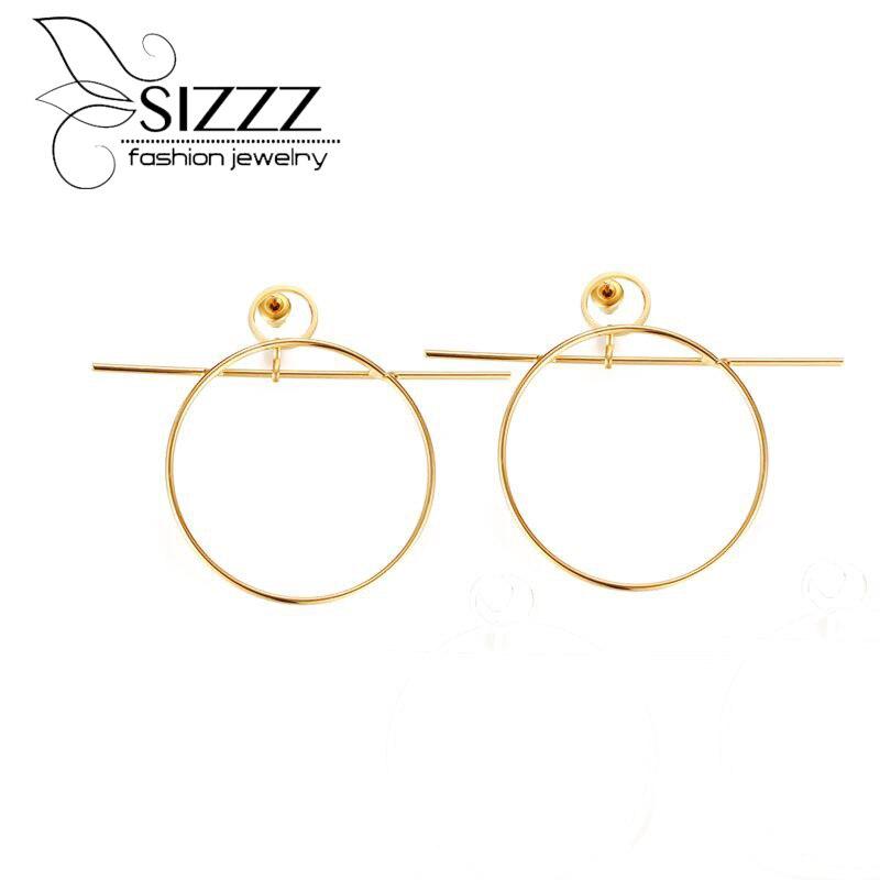 Sizzz оригинальные черты простой нержавеющей стали леди покрытие золото геометрические серьги-капли для женщин