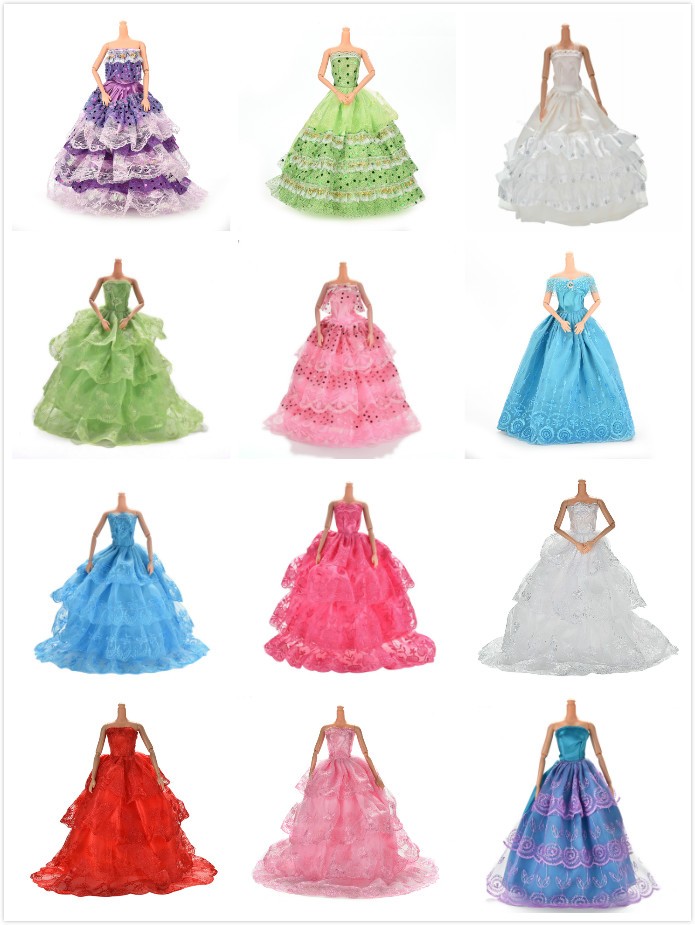 Multi Layers Elegant Handmade Wedding Princess Dress For  Doll Floral Doll Dress Clothes Clothing Dolls Accessories
