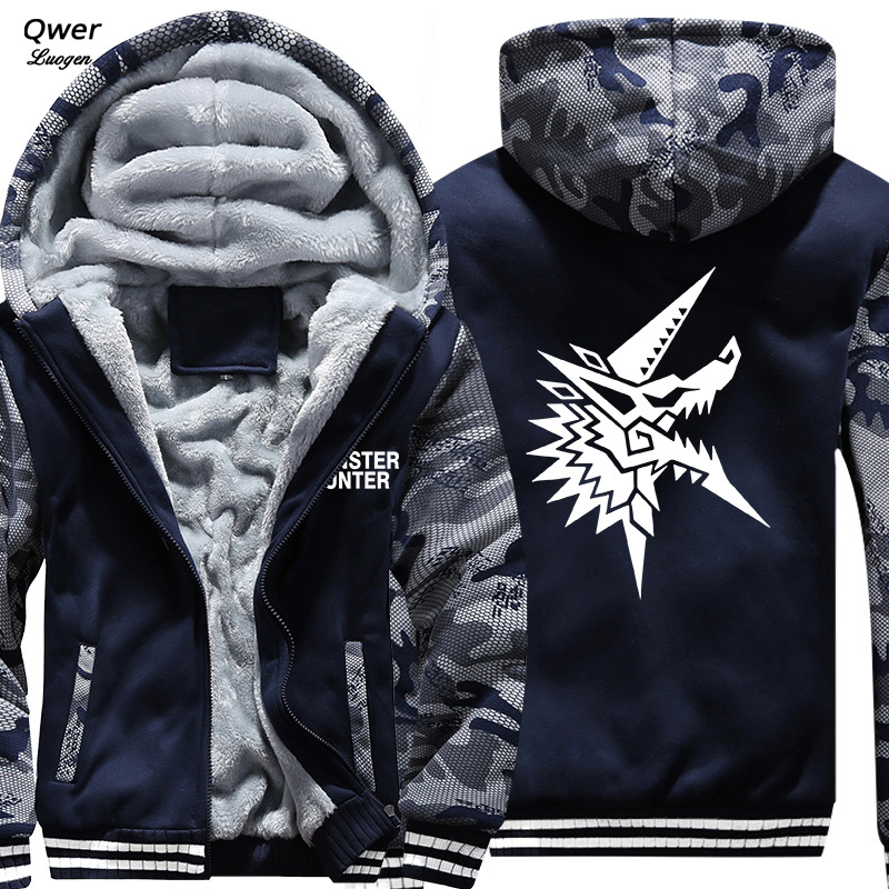 US Size Mens Camouflage Coat For Game Monster Hunt World Battle Fatigues Jacket Thicken Hoodie Sweatshirts