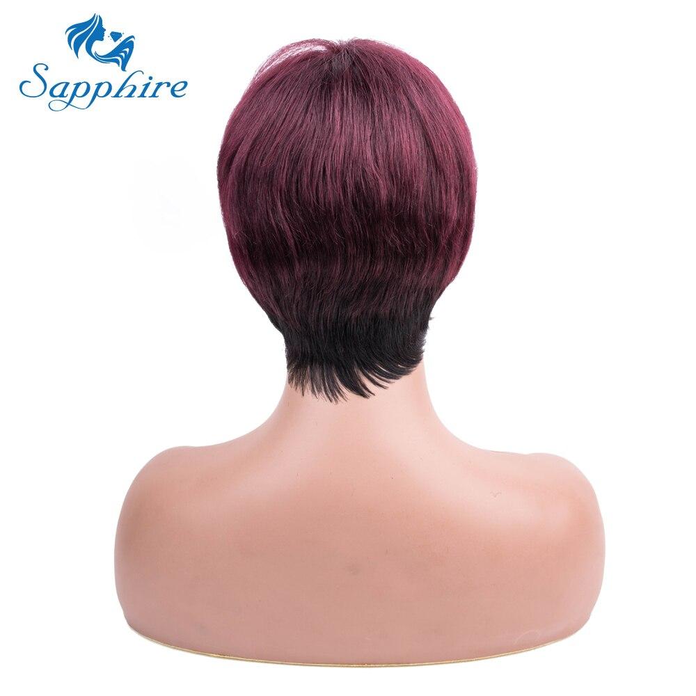 サファイアショートブルゴーニュ女性のためのウィッグ人毛マシン製非レミーかつらコスプレパーティーウィッグレッドナチュラル波状人間髪かつら  グループ上の ヘアエクステンション & ウィッグ からの フルマシーンウィッグ の中 2