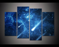 Cnavas Print Landscape 4 Panel Large HD Printed Oil Painting Meteors Modern Home Decor Wall Art
