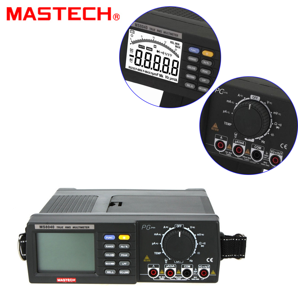 MASTECH MS8040 22000 Counts Bench multimeter True RMS Low-pass filtering With RS-232 Interface mastech ms8250c autoranging digital multimeter true rms low pass filtering 6600 d a display ncv usb data transmission