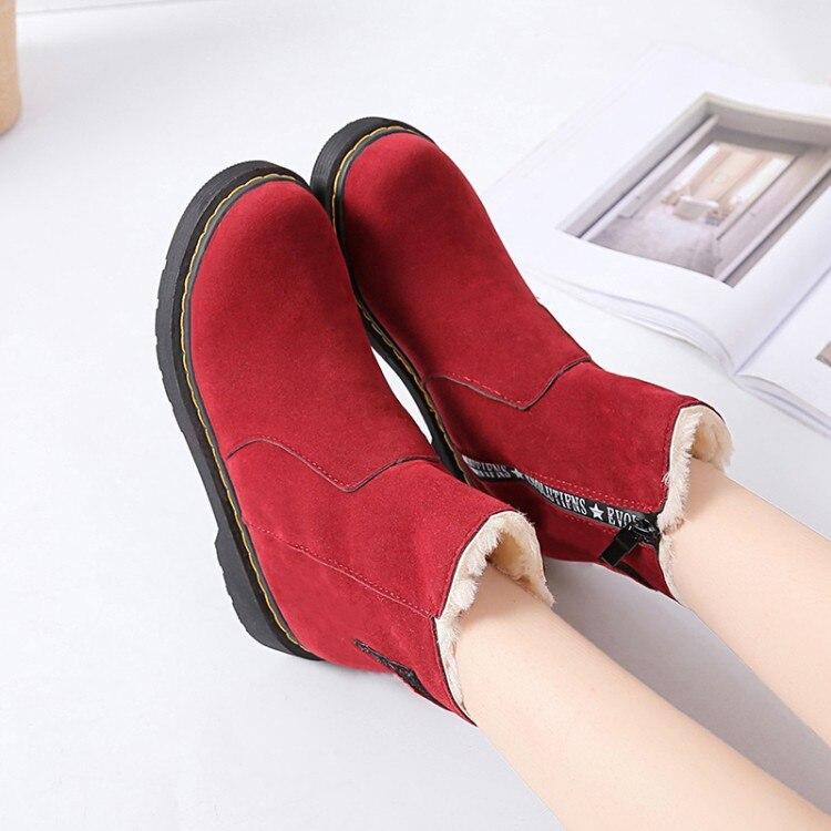 Poilu Nubuck Rembourré Bottes De Femmes Épaississement Creepers marron Hiver Cheville Neige Designer Fond Dames Botas Chaussures Noir Épais rouge n0NwOPk8X