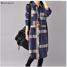 2018 Autumn Winter Women Plaid Cotton Linen Long Shirt
