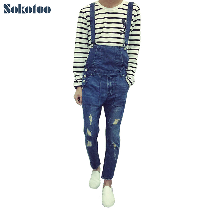 Sokotoo Men's slim hole ripped ankle length jeans Male casual denim bib overalls Jumpsuits for man denim overalls male suspenders front pockets men s ripped jeans casual hole blue bib jeans boyfriend jeans jumpsuit or04