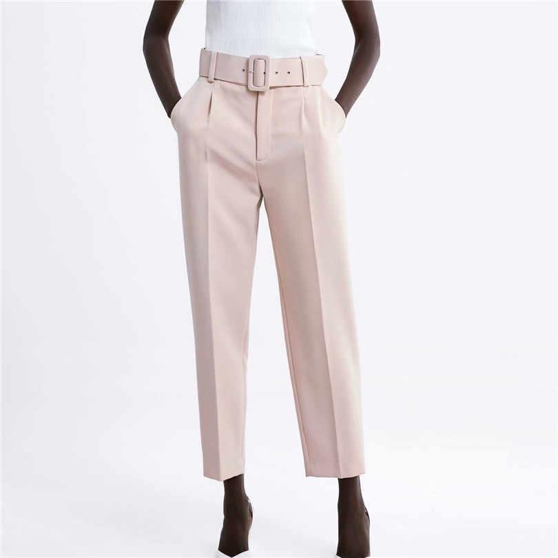 Feminino elegante preto calças faixas bolsos zíper voar sólida senhoras streetwear 2019 casual chic pantalones