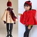 Autumn Winter Fashion Baby Girl & Girl's Woolen Hooded Cloak, Kids' Fleece Cape, Winter Children's Outerwear Coat Poncho,2 Color