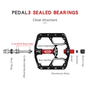 Image 3 - Pédales de vélo plates vtt route 3 roulements scellés pédales de vélo pédales de VTT plate forme large pédales Bicicleta accessoires partie