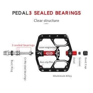 Image 3 - フラットバイクペダルmtbロード3密封されたベアリング自転車ペダルマウンテンバイクのペダルワイドプラットフォームpedales bicicleta付属品