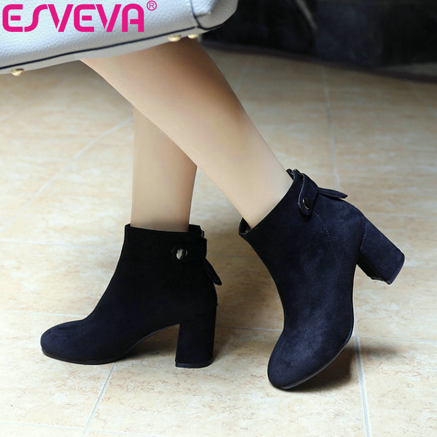 ESVEVA 2019 Woman Boots High Heels Basic Square Heels Winter Boots Autumn Shoes Flock Women Ankle Boots Shoes Pointed Toe 34-43 enmayla retro winter high heels ankle boots women nubuck charms shoes woman sexy red boots med heels square toe boots size 34 43