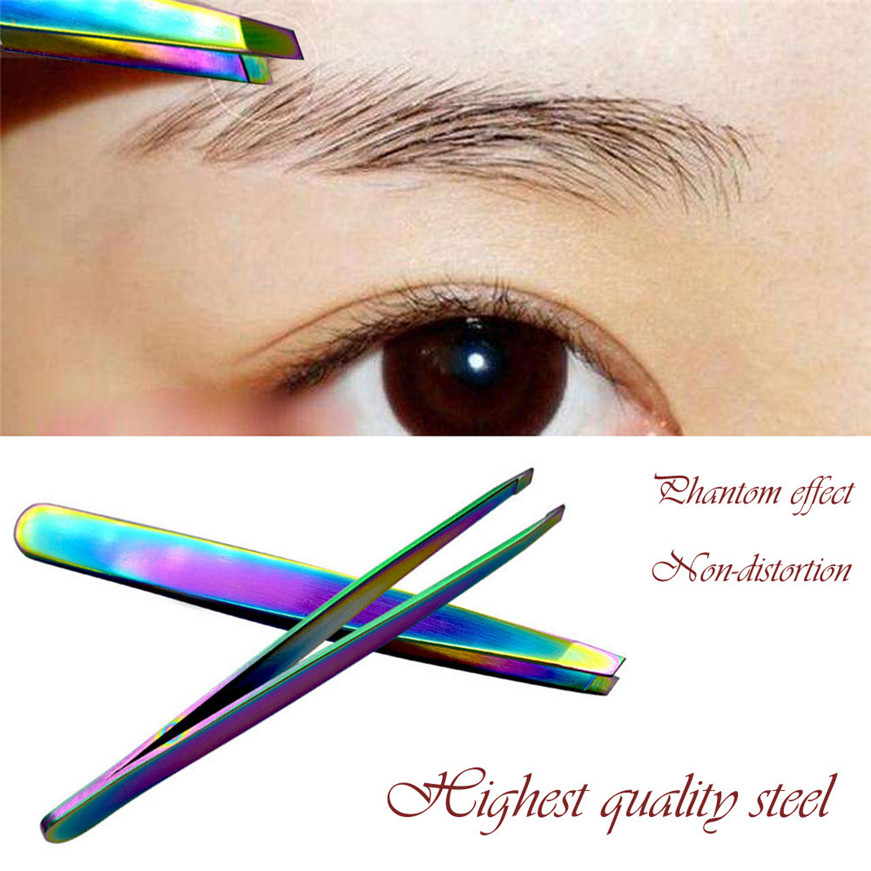 2017 * Stainless Steel Eyebrow Tweezers Eyelash Curler Clip Plucking Beauty Tools