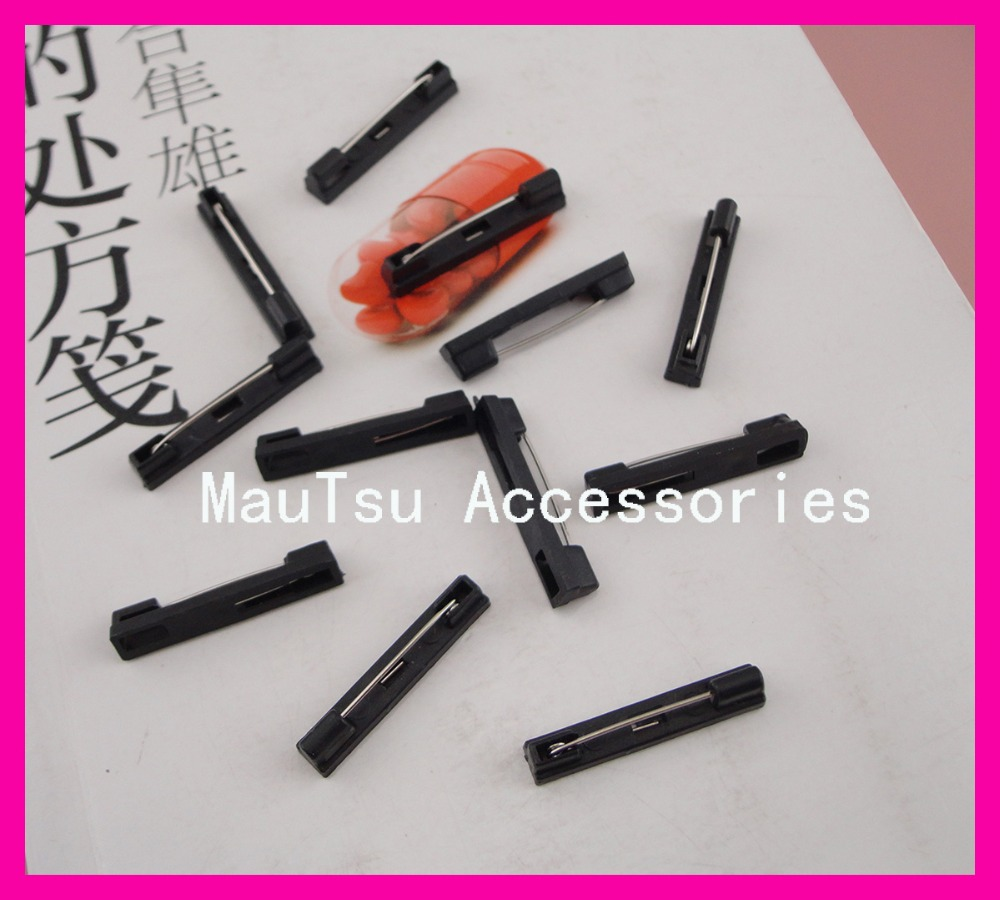 200PCS 3.0cm 1.15 Black plain plastic pin back suitable to brooches badges,30mm plastic safety pins,Bargarin for Bulk