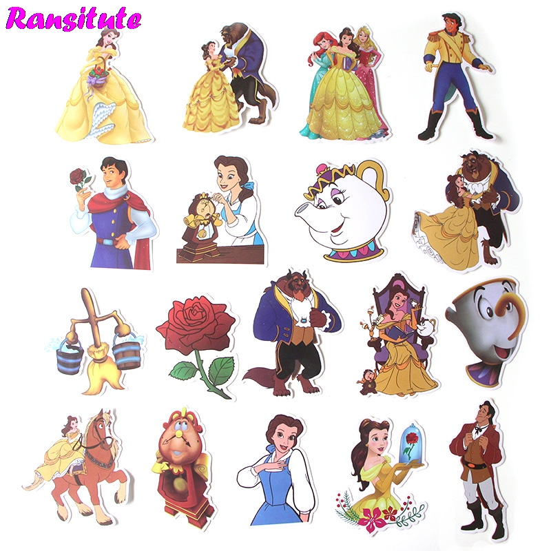 18Pcs/set Beauty And The Beast Sticker Motorcycle And Suitcase Cool Laptop Sticker Skateboard Sticker JDM Doodle Decal R395