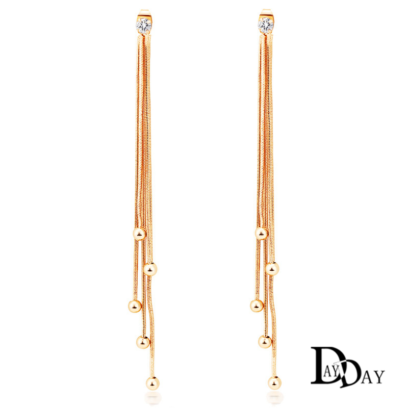 2017 Fashion Long Tel Drop Earrings New Charm European Design Gold Color Crystal For Women Jewelry In From