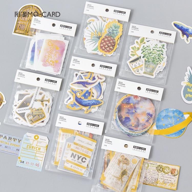 24 Pcs/Pack Remote Planet Big Paper Sticker Bag Diy Diary Planner Decoration Sticker Album Scrapbooking