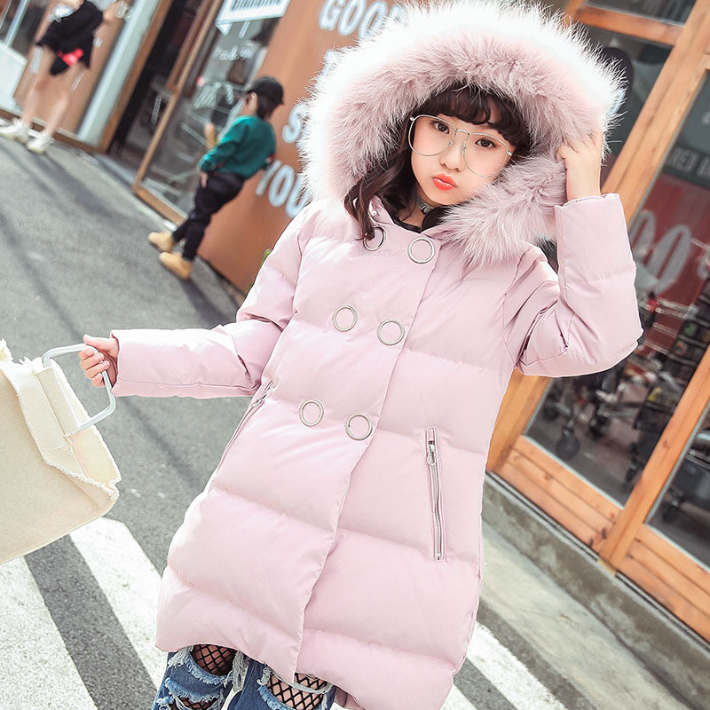 Girl Winter Long Coat Children Clothing Girls Parkas Warm Duck Down Jackets for Girls Cotton Parkas Outerwear Coat Big Fur new winter girls parkas children down jackets long warm big girl thick coat kids outerwear white duck down jacket for girl tz215