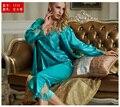Three-Pieces Pajama Sets Women Sexy V-Neck Sleepwear Imitation Silk Full Sleeve Pijamas Femininos