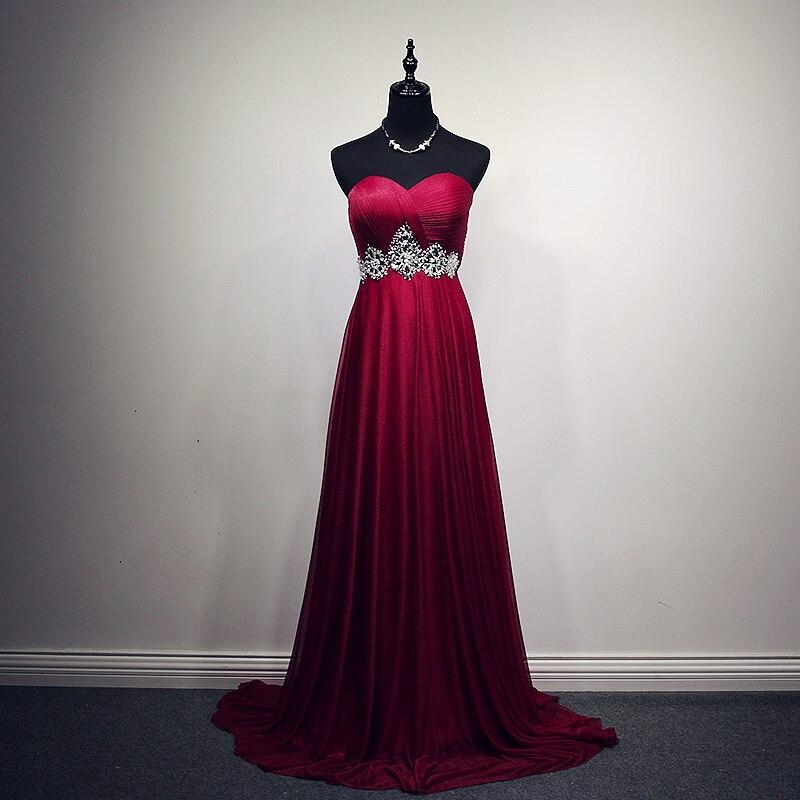 La Estrella de mar 2018 new sweetheart crystal TulleA Line burgundy   bridesmaid     dresses   long real photo brautjungfernkleid
