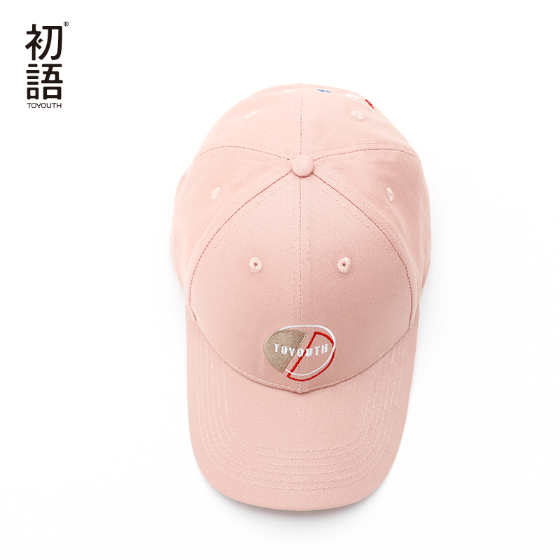 Toyouth Baseball Cap Women Casual Letter Embroidery All Match Adjustable Sun Hat Pink Color 3