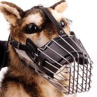 強い金属ワイヤーバスケット犬銃口バスケットデザインアンチかむ調整ストラップマスクチューグリグリ金属犬銃口