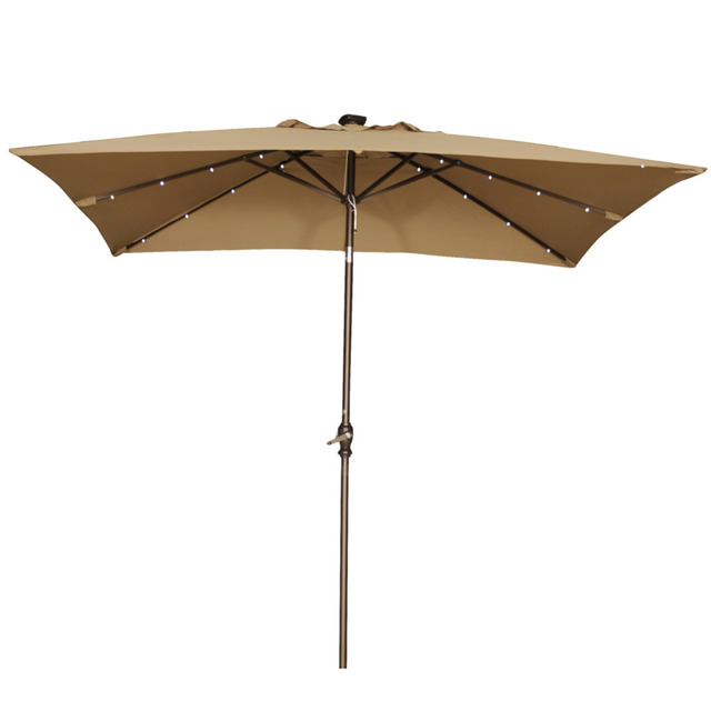 Gentil Abba Patio 7 By 9 Feet Rectangular Patio Umbrella With Solar Powered 32 LED  Lights With