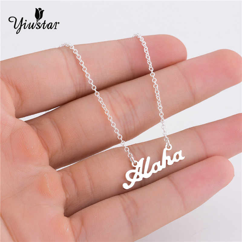 83691e66ff4bc ... yiustar Summer Golden Hawaiian Greeting Aloha Stainless Steel Necklace  Women Name Necklace Personalized Charm Necklace Letters ...