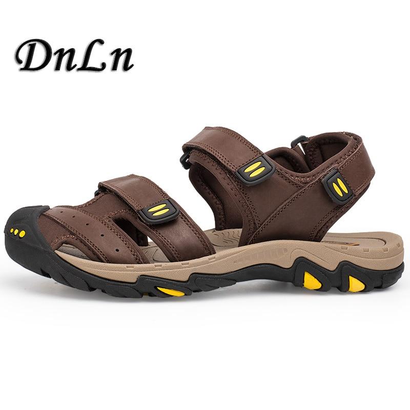 Men Genuine Leather Sandals Closed Toe Brown Khaki Color Fashion Beach Flip Flops Vintage Style Outdoor Sandals D30