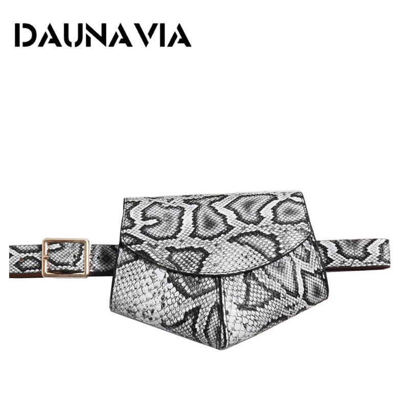 DAUNAVIA Women Serpentine Fanny Pack Ladies New Fashion Waist Belt Bag Mini Disco Waist Bag Leather Small Shoulder Bag Chest Bag