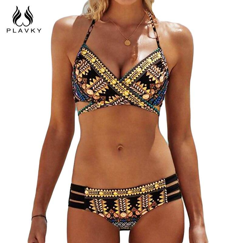 PLAVKY 2018 Sexy vendaje azteca Biquini String Strappy traje de baño Baño traje de baño mujeres brasileño Bikini