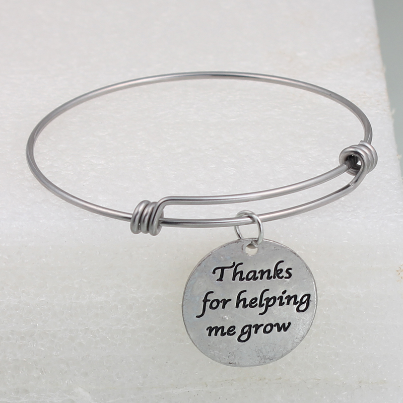 New Thanks for helping me grow Round Charms Adjustable Extendable Bangle Hand Stamped Positive Inspirational Quote Cuff Bangle
