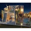 Santorini Miniatura Dollhouse Muebles de Casas de Muñecas de Madera DIY Juguetes para Los Niños, Miniatura Casa de Muñecas de Puzzle Juguetes Creativos