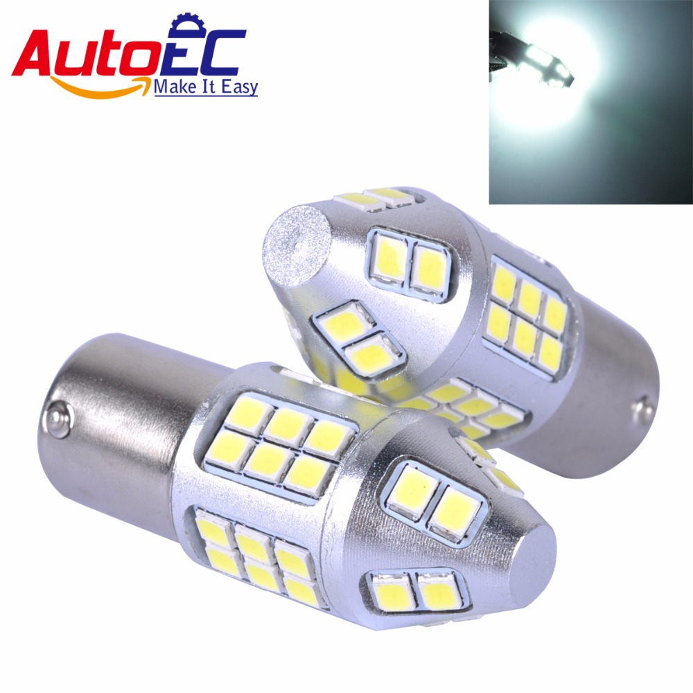 Wljh 2x 12v 24v 3014 Chip Led Ba15s 1156 S25 P21w Car Drl 7506 7527 Light Bulb Wire Wiring Harness Socket Autoec 1157 Canbus 2835 40 Smd Turn Signal Bulbs High