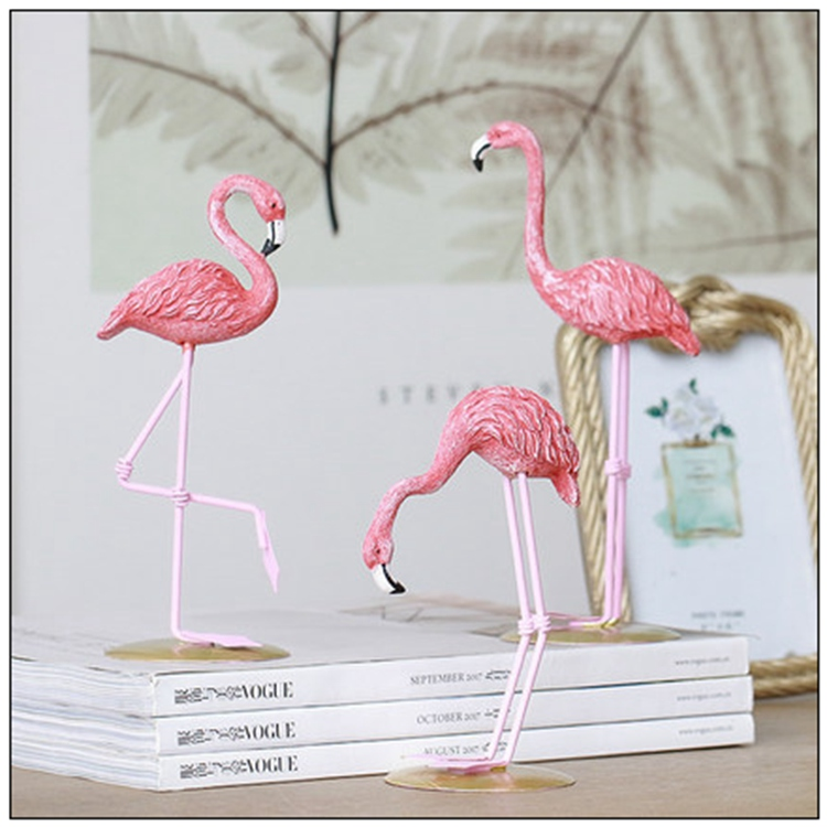 Resin Pink Flamingo Stand Model Bird