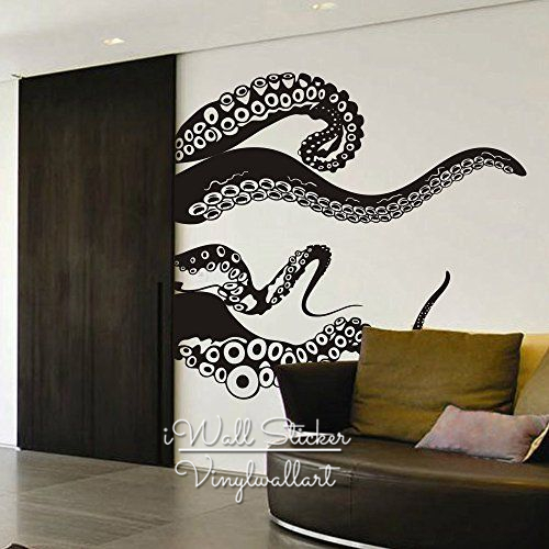 octopus wall sticker modern octopus wall decal diy easy wall art removable modern wall decors. Black Bedroom Furniture Sets. Home Design Ideas