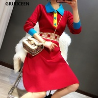 GRUIICEEN slim party knitted dress 2018 spring new runway female lady office A line red sweater dress brand designer SG 0819508