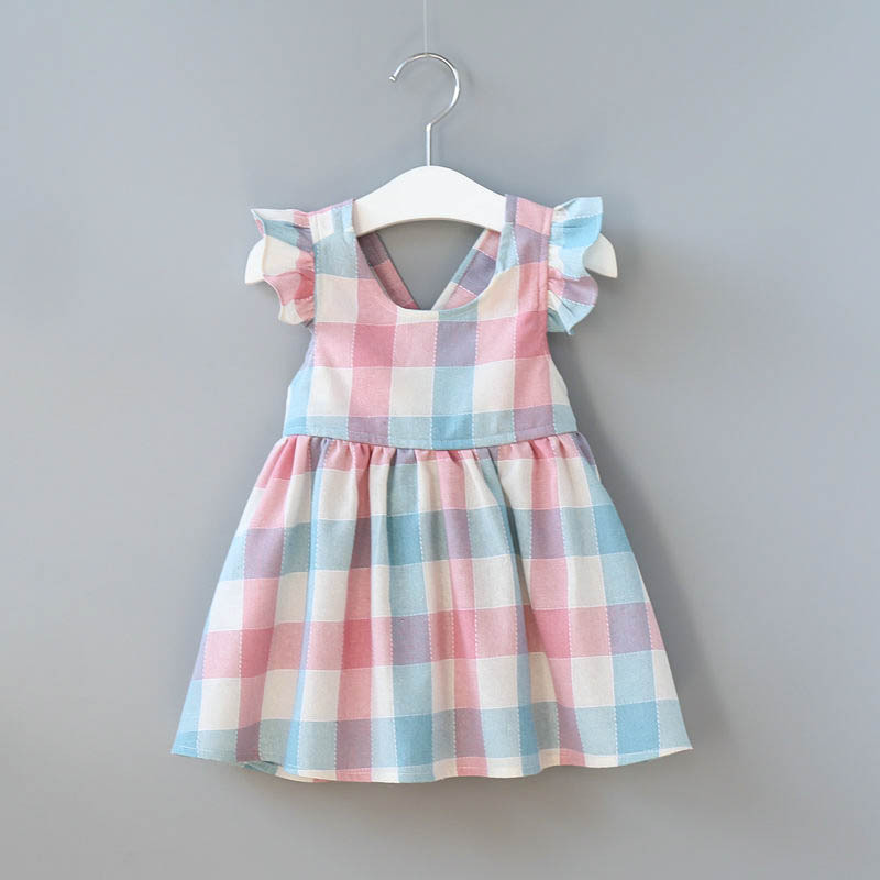 2018 New Summer Baby Girl Cloth Children Clothing Ball Gown Dress Girls Casual Plaid Cotton Elegant Dresses For Girls Kids Cloth